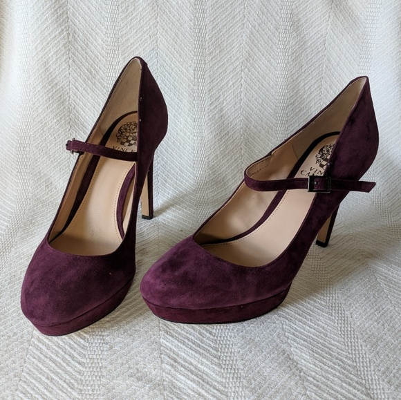 Vince Camuto Shoes - NWT Vince Camuto suede Plum high heel Mary Janes